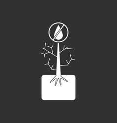 White icon on black background thirsty plant vector