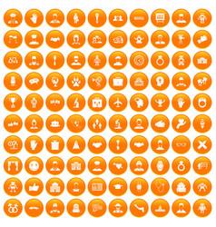 100 handshake icons set orange vector