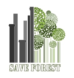 Save forest green trees near factory pipes vector