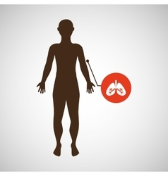 silhouette man with lungs organ body icon vector image