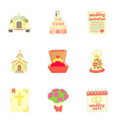 Marriage ceremony icons set cartoon style vector