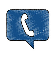 speech bubble with telephone icon vector image