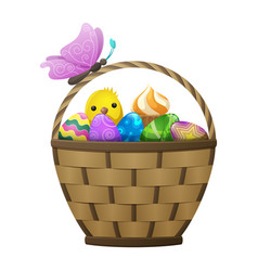 Basket with easter eggs chiken and butterfly vector