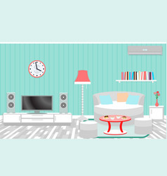 Living room interior including furniture air vector
