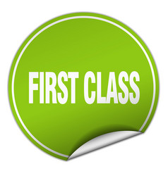 First class round green sticker isolated on white vector
