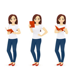 Woman in jeans with book vector