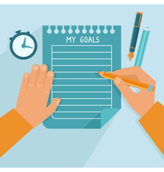 Personal goals list in flat style vector