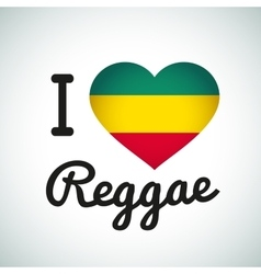 I love reggae heart  jamaican music vector
