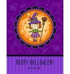 Halloween card with funny witch vector