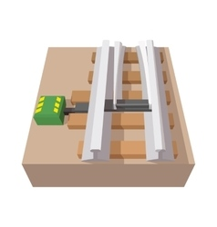 Railroad switch cartoon icon vector