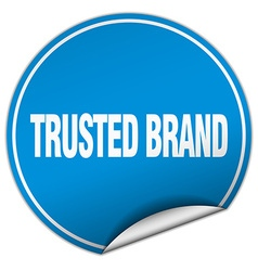 Trusted brand round blue sticker isolated on white vector