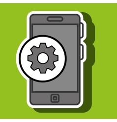 Smartphone blue and gear isolated icon design vector