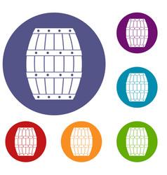 Barrel icons set vector