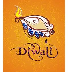 Beautiful greeting card for festival diwali vector