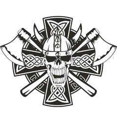 celtic cross and skull vector image