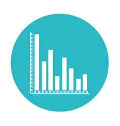 Circle light blue with column chart icon vector