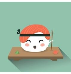 Cute cartoon sushi vector image