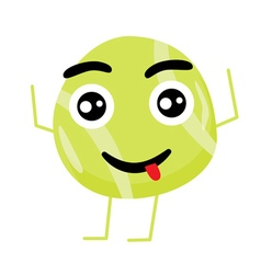 Cute tennis ball cartoon character vector