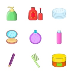 Decorative cosmetic icons set cartoon style vector image