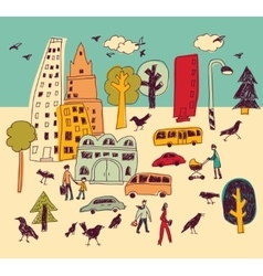 Doodles urban park landscape walking color city vector
