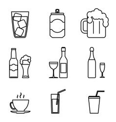 Drink icons line art isolated set vector