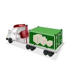 Flatbed trailer loading wooden crates in container vector