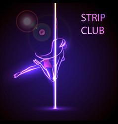 Girl on the pylon strip bar vector