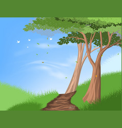 Hiking trail on hill vector