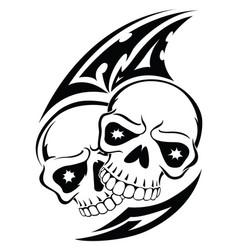 Human skull tattoo vintage engraving vector