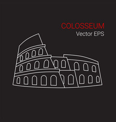 Line icon of colosseum rome italy vector