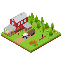 Lumberjack and sawmill building isometric view vector