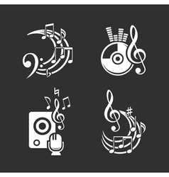 Music design elements and note icons set vector