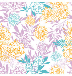 pink yellow blue leaves and flowers vector image vector image