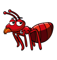 Red ant with sleepy face vector