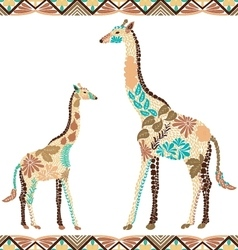 Seamless giraffe pattern made from flowers leaves vector