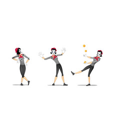 Set 2 of girl mime performances vector