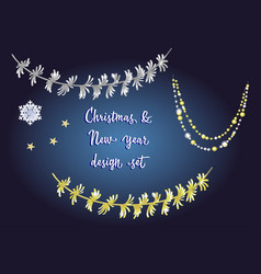 Set of detailed tinsel isolated on dark vector
