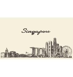 Singapore skyline drawn sketch vector