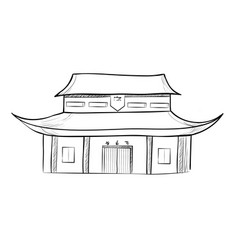 Sketch of the traditional chinese house vector