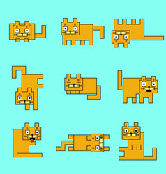 Square orange cats on a blue background vector