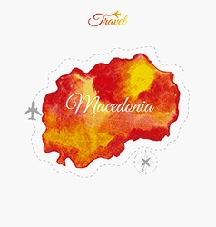 Travel around the world macedonia watercolor map vector