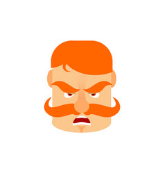 vintage irishman with red mustache angry emoji vector image