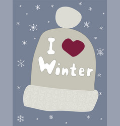 Winter poster clothes postcard season lettering vector