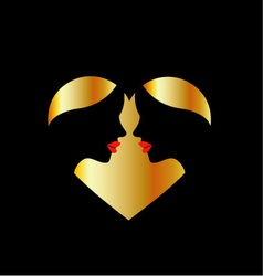 Women whispering in the dark forming a heart vector