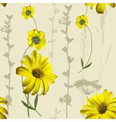 Yellow flowers pattern vector