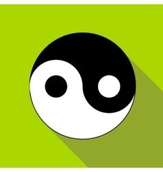Yin yang symbol icon flat style vector