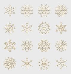 Golden snowflakes set vector