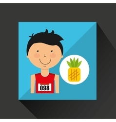Cartoon boy athlete with pineapple vector