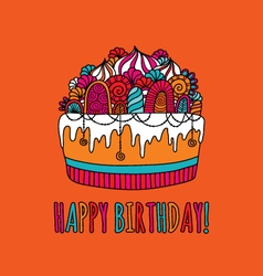 Birthday cake hand drawn doodle orange vector