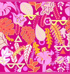 Tropical vibrant tropical leaves seamless pattern vector